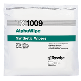 AlphaWipe TX1009 Dry, Non-Sterile, 100% polyester, cut-edge wipers