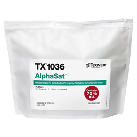 AlphaSat® TX1036 Non-Sterile, cut-edge, polyester wipers, pre-wetted with USP-grade 70% IPA/ 30% DIW