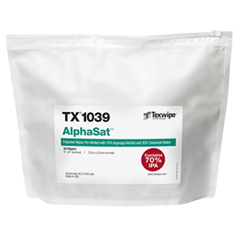 AlphaSat® TX1039 Non-Sterile, cut-edge, polyester wipers, pre-wetted with USP-grade 70% IPA/ 30% DIW