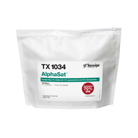 AlphaSat® TX1034 Non-Sterile, cut-edge, polyester wipers, pre-wetted with USP-grade 70% IPA/ 30% DIW