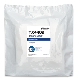 TechniScrub™ TX4409 Non-Sterile, dry, 50% polyester/ 50% cellulose nonwoven wipers